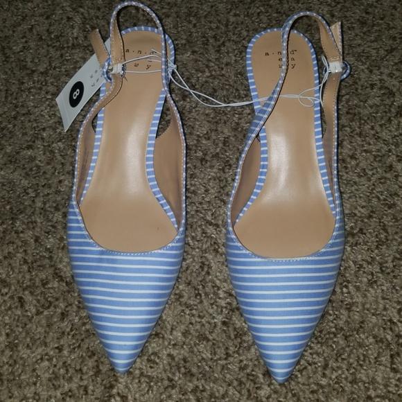 562808c42e a new day Shoes | Blue White Striped Kitten Heels | Poshmark